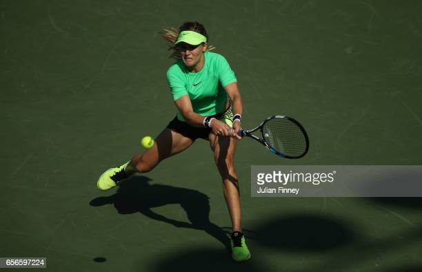Eugenie Bouchard of Canada in action against Ashleigh Barty of Australia at Crandon Park Tennis Center on March 22 2017 in Key Biscayne Florida