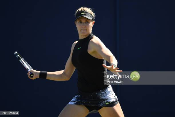 Eugenie Bouchard of Canada in action against Barbora Strycova of Czech Republic on Day 2 of the Aegon International Eastbourne at Devonshire Park on...