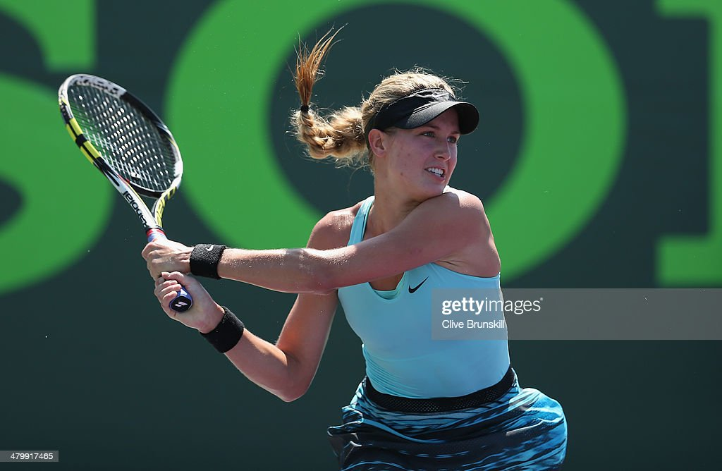 Eugenie Bouchard of Canada in action against Elina Svitolina of Ukraine during their second round match during day 5 at the Sony Open at Crandon Park Tennis Center on March 21, 2014 in Key Biscayne, Florida.