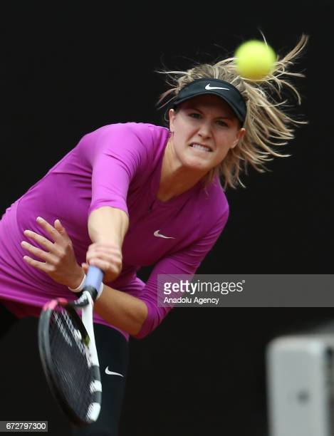Eugenie Bouchard of Canada in action against Jana Cepelova of Slovakia during the TEB BNP Paribas Istanbul Cup women's tennis match at Garanti Koza...