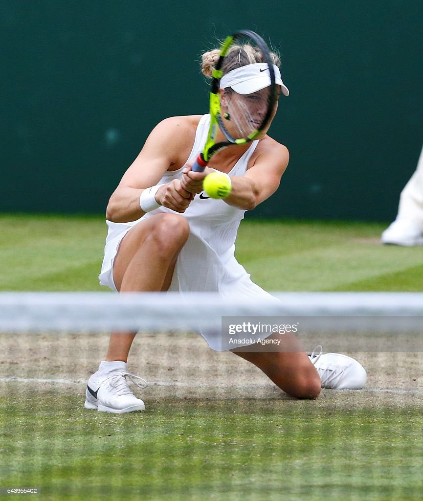 Eugenie Bouchard of Canada in action against Johanna Konta (not seen) of Great Britain in the women's singles on day four of the 2016 Wimbledon Championships at the All England Lawn and Croquet Club in London, United Kingdom on June 30, 2016.