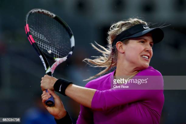 Eugenie Bouchard of Canada in action against Svetlana Kuznetsova of Russia on day six of the Mutua Madrid Open tennis at La Caja Magica on May 11...