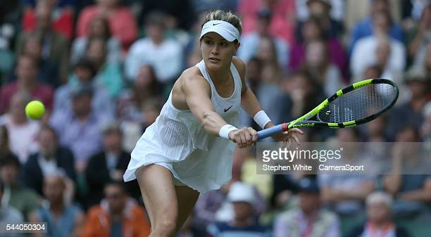 Eugenie Bouchard of Canada in action during her victory over Johanna Konta of Great Britain in their Ladies Singles Second Round match on day four of...