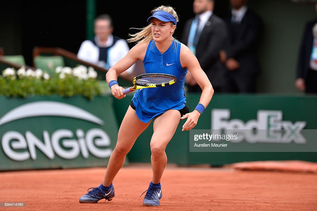 Eugenie Bouchard of Canada in action during her women's single second round match against Timea Bacsinszky of Switzerland on day five of the 2016 French Open at Roland Garros on May 26, 2016 in Paris, France.