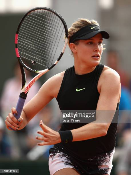 Eugenie Bouchard of Canada in action during the ladies singles first round match against Risa Ozaki of Japan day three of the 2017 French Open at...