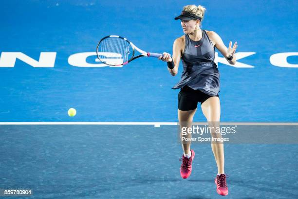 Eugenie Bouchard of Canada in action during the Prudential Hong Kong Tennis Open 2017 match between Caroline Wozniacki of Denmark and Eugenie...