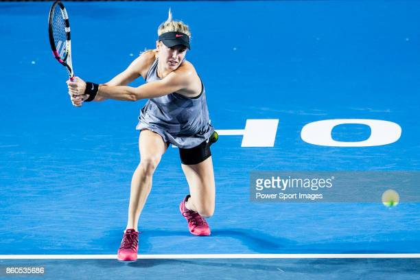 Eugenie Bouchard of Canada in action during the Prudential Hong Kong Tennis Open 2017 women's double match between Shelby Rogers of USA and Eugenie...