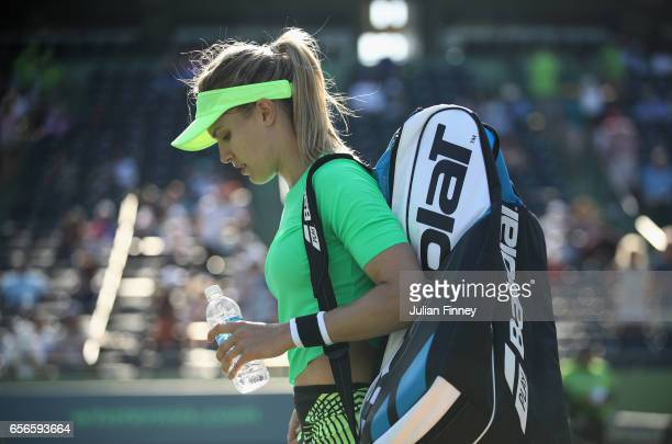 Eugenie Bouchard of Canada leaves the court after her loss against Ashleigh Barty of Australia at Crandon Park Tennis Center on March 22 2017 in Key...