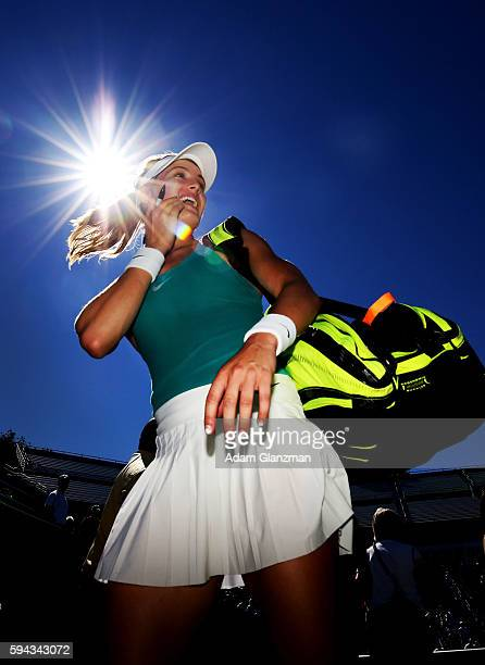 Eugenie Bouchard of Canada leaves the court after her victory over Annika Beck of Germany on day 2 of the Connecticut Open at the Connecticut Tennis...