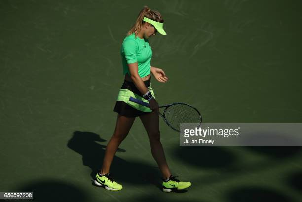 Eugenie Bouchard of Canada looks down in her match against Ashleigh Barty of Australia at Crandon Park Tennis Center on March 22 2017 in Key Biscayne...