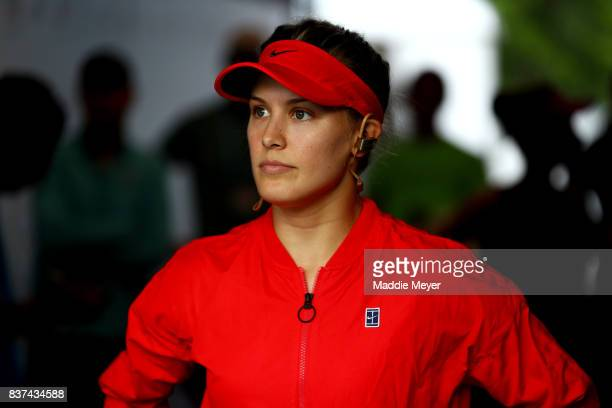 Eugenie Bouchard of Canada looks on before her match against Agnieszka Radwanska of Poland during Day 5 of the Connecticut Open at Connecticut Tennis...