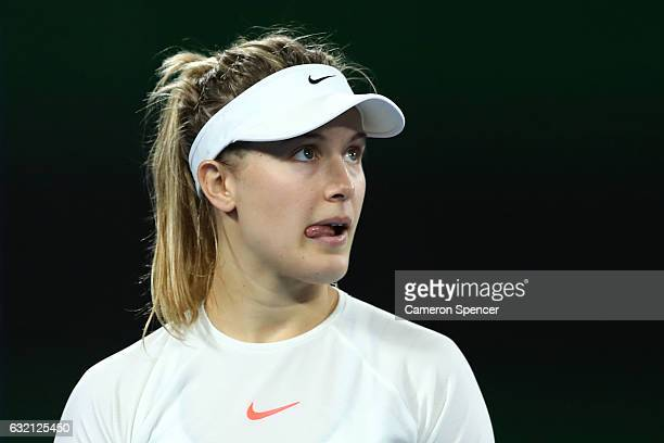 Eugenie Bouchard of Canada looks on in her third round match against Coco Vandeweghe of the United States on day five of the 2017 Australian Open at...