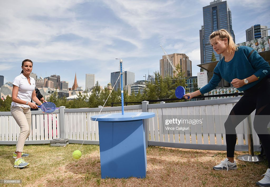 Eugenie Bouchard of Canada playing bat tennis with Rachael Finch of channel seven at the Canadian Club Racquet Club at Birrarung Marr during day two...