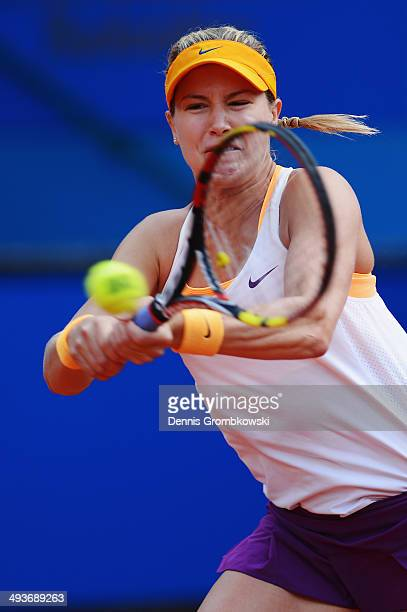 Eugenie Bouchard of Canada plays a backhand during her match against Karolina Pliskova of Czech Republic during Day 8 of the Nuernberger...