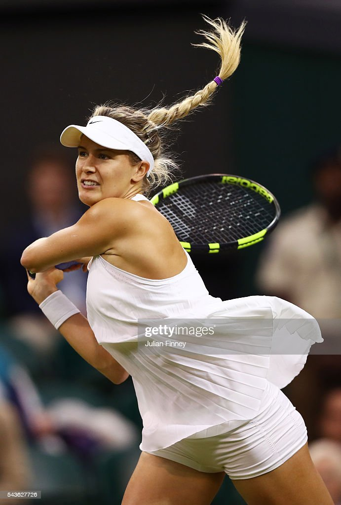 <a gi-track='captionPersonalityLinkClicked' href=/galleries/search?phrase=Eugenie+Bouchard&family=editorial&specificpeople=5678779 ng-click='$event.stopPropagation()'>Eugenie Bouchard</a> of Canada plays a backhand during the Ladies Singles first round match against Magdalena Rybarikova of Slovakia on day three of the Wimbledon Lawn Tennis Championships at the All England Lawn Tennis and Croquet Club on June 29, 2016 in London, England.