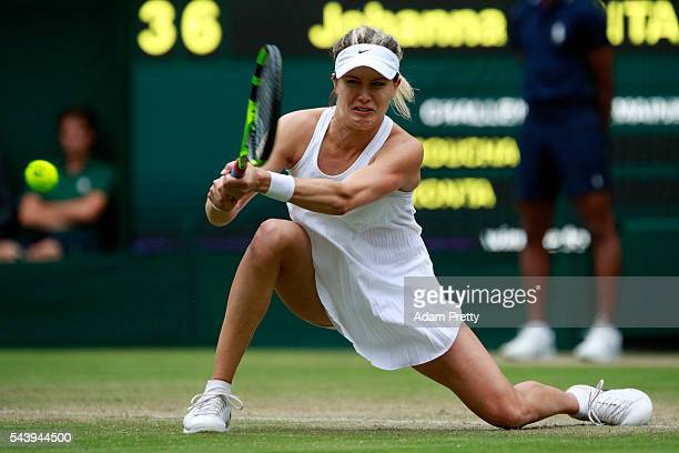 Eugenie Bouchard of Canada plays a backhand during the Ladies Singles second round match against Johanna Konta of Great Britain on day four of the...