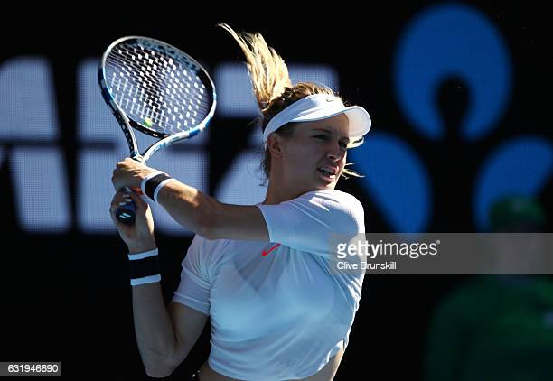 Eugenie Bouchard of Canada plays a backhand in her second round match against Shuai Peng of China on day three of the 2017 Australian Open at...