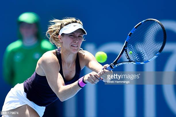 Eugenie Bouchard of Canada plays a backhand shot in her first round match against Shuai Zhang of China during the 2017 Sydney International at Sydney...