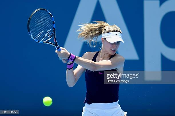Eugenie Bouchard of Canada plays a backhand shot in her second round match against Dominika Cibulkova of Slovakia during day three of the 2017 Sydney...