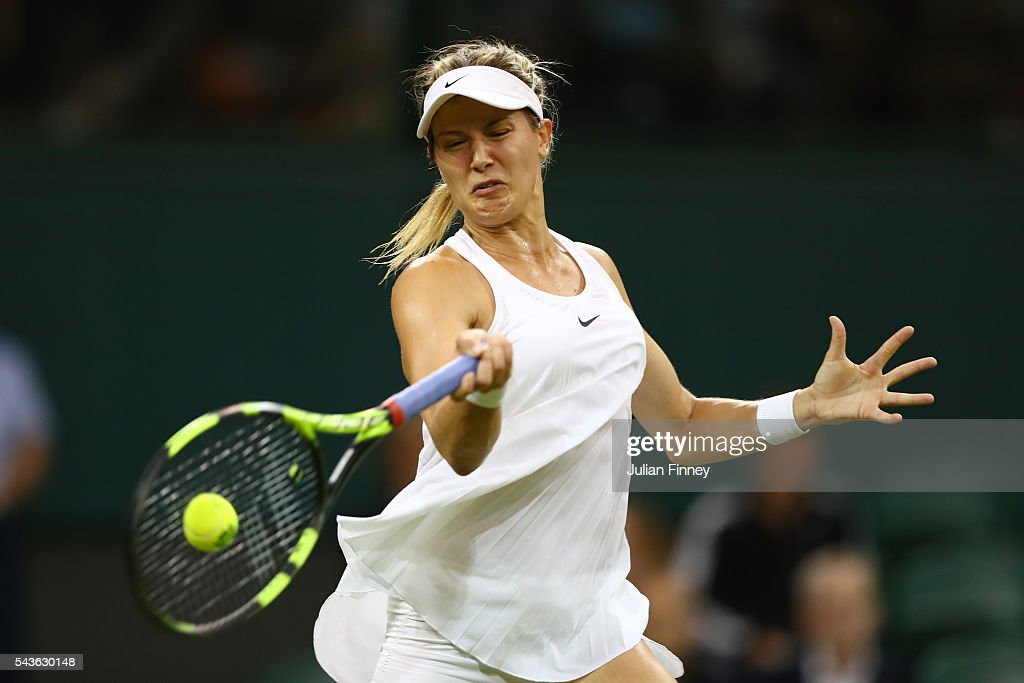 <a gi-track='captionPersonalityLinkClicked' href=/galleries/search?phrase=Eugenie+Bouchard&family=editorial&specificpeople=5678779 ng-click='$event.stopPropagation()'>Eugenie Bouchard</a> of Canada plays a forehand during the Ladies Singles first round match against Magdalena Rybarikova of Slovakia on day three of the Wimbledon Lawn Tennis Championships at the All England Lawn Tennis and Croquet Club on June 29, 2016 in London, England.
