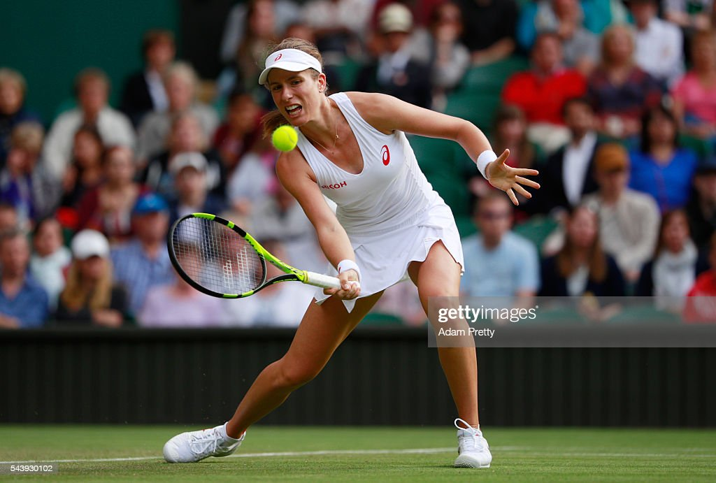 <a gi-track='captionPersonalityLinkClicked' href=/galleries/search?phrase=Eugenie+Bouchard&family=editorial&specificpeople=5678779 ng-click='$event.stopPropagation()'>Eugenie Bouchard</a> of Canada plays a forehand during the Ladies Singles second round match against Johanna Konta of Great Britain on day four of the Wimbledon Lawn Tennis Championships at the All England Lawn Tennis and Croquet Club on June 30, 2016 in London, England.