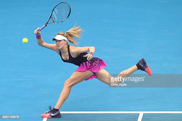 Eugenie Bouchard of Canada plays a forehand in her first round match against Shelby Rogers of the United States during day one of the 2017 Brisbane...
