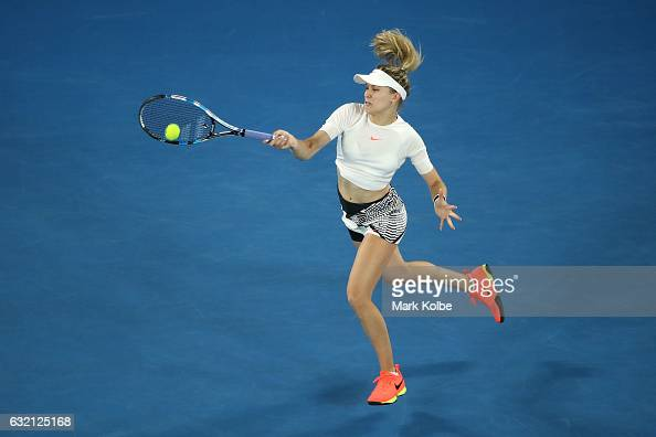 Eugenie Bouchard of Canada plays a forehand in her third round match against Coco Vandeweghe of the United States on day five of the 2017 Australian...