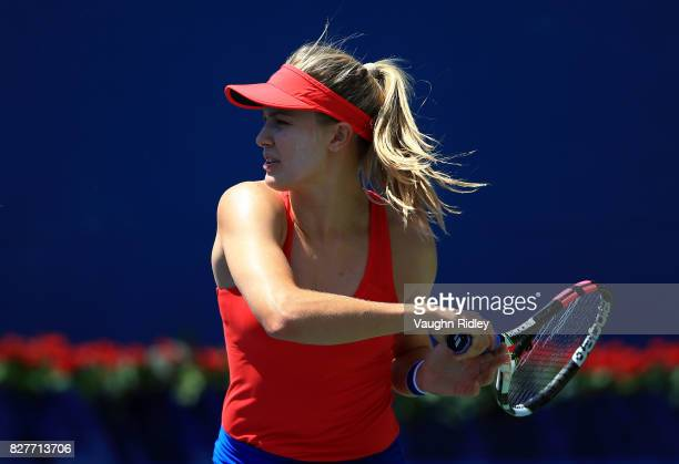 Eugenie Bouchard of Canada plays a shot against Donna Vekic of Croatia during Day 4 of the Rogers Cup at Aviva Centre on August 8 2017 in Toronto...