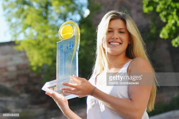 Eugenie Bouchard of Canada poses at Nuremberg Castle after winning the Nuernberger Versicherungscup in her final against Karolina Pliskova of Czech...
