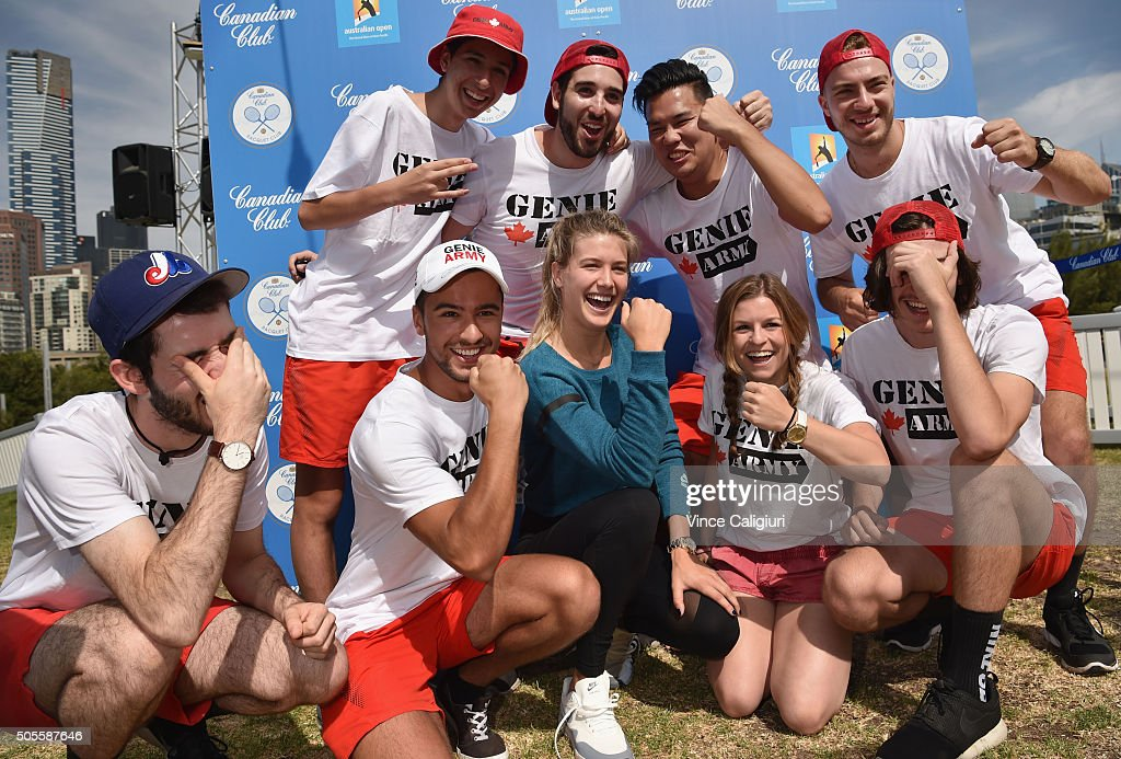 Eugenie Bouchard of Canada poses with the Genie Army at the Canadian Club Racquet Club at Birrarung Marr during day two of the 2016 Australian Open...