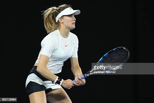 Eugenie Bouchard of Canada prepares to return serve in her third round match against Coco Vandeweghe of the United States on day five of the 2017...