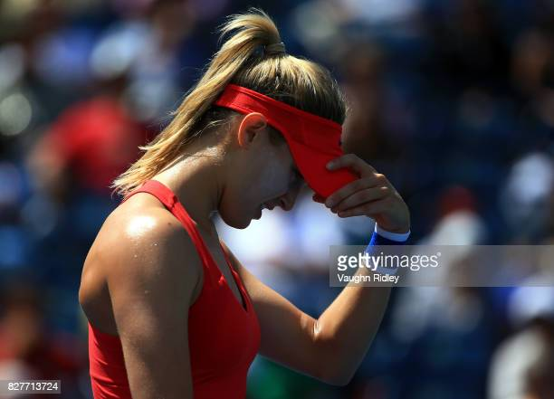 Eugenie Bouchard of Canada reacts after a missed shot against Donna Vekic of Croatia during Day 4 of the Rogers Cup at Aviva Centre on August 8 2017...
