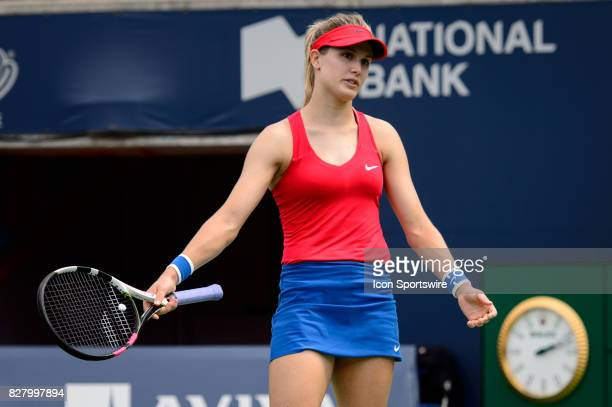 Eugenie Bouchard of Canada reacts during her first round match of the 2017 Rogers Cup tennis tournament on August 8 at Aviva Centre in Toronto ON...