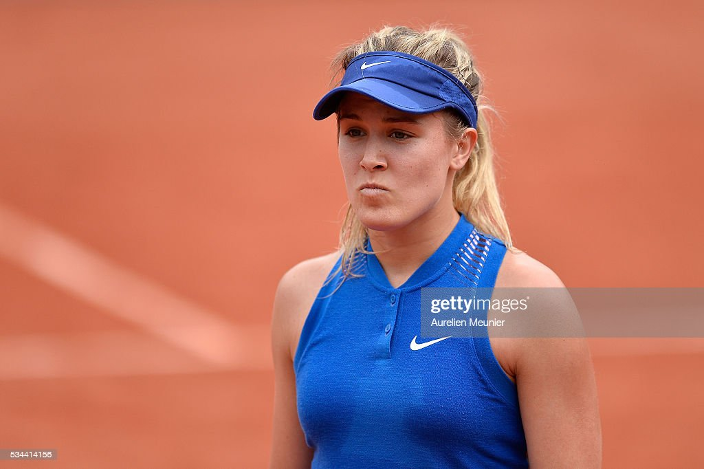 Eugenie Bouchard of Canada reacts during her women's single second round match against Timea Bacsinszky of Switzerland on day five of the 2016 French Open at Roland Garros on May 26, 2016 in Paris, France.