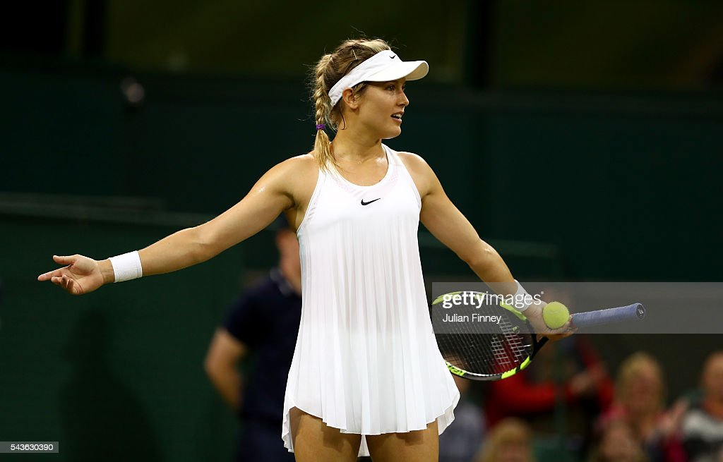 <a gi-track='captionPersonalityLinkClicked' href=/galleries/search?phrase=Eugenie+Bouchard&family=editorial&specificpeople=5678779 ng-click='$event.stopPropagation()'>Eugenie Bouchard</a> of Canada reacts during the Ladies Singles first round match against Magdalena Rybarikova of Slovakia on day three of the Wimbledon Lawn Tennis Championships at the All England Lawn Tennis and Croquet Club on June 29, 2016 in London, England.