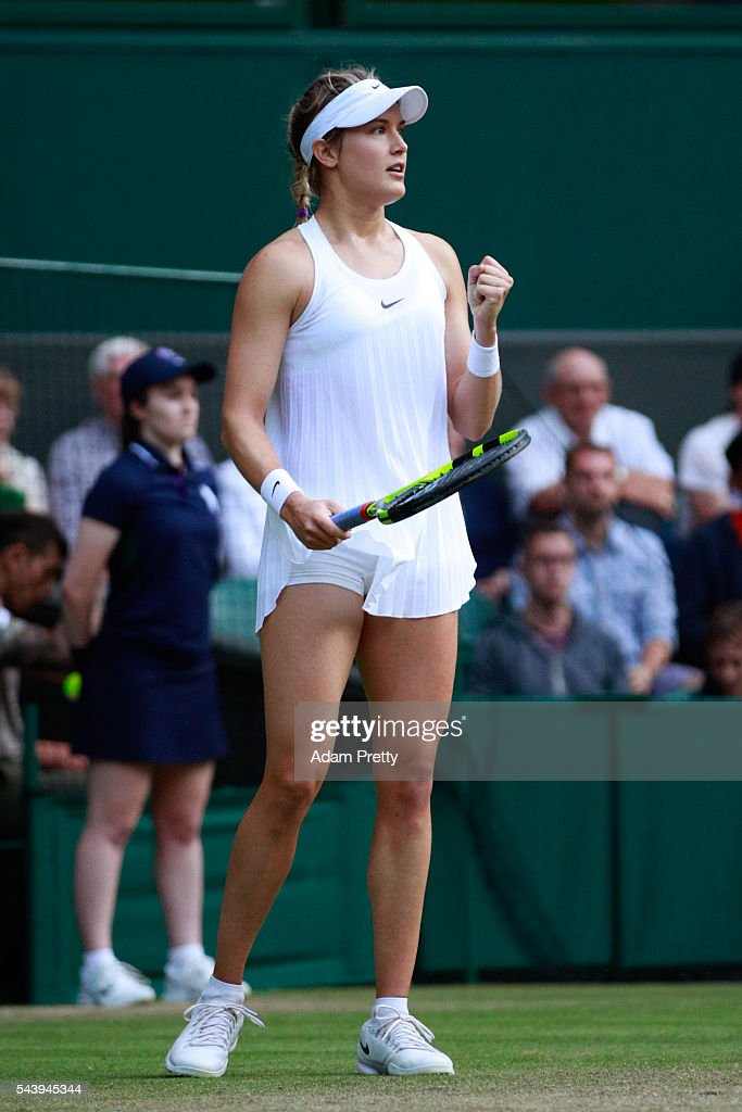 <a gi-track='captionPersonalityLinkClicked' href=/galleries/search?phrase=Eugenie+Bouchard&family=editorial&specificpeople=5678779 ng-click='$event.stopPropagation()'>Eugenie Bouchard</a> of Canada reacts during the Ladies Singles second round match against Johanna Konta of Great Britain on day four of the Wimbledon Lawn Tennis Championships at the All England Lawn Tennis and Croquet Club on June 30, 2016 in London, England.