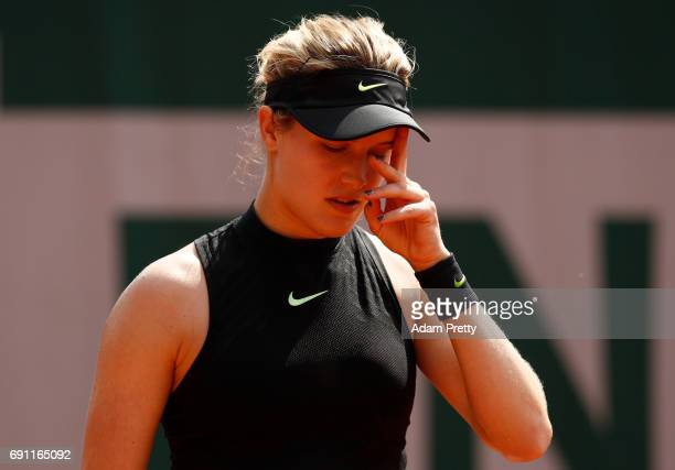 Eugenie Bouchard of Canada reacts during the ladies singles second round match against Anastasija Sevastova of Latvia on day five of the 2017 French...