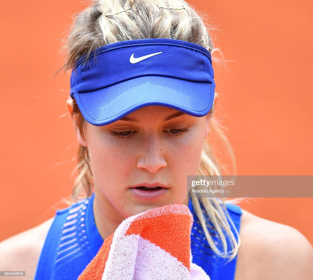 Eugenie Bouchard of Canada reacts during the women's single second round match against Timea Basinszky (not seen) of Switzerland at the French Open tennis tournament at Roland Garros stadium in Paris, France on May 26, 2016.