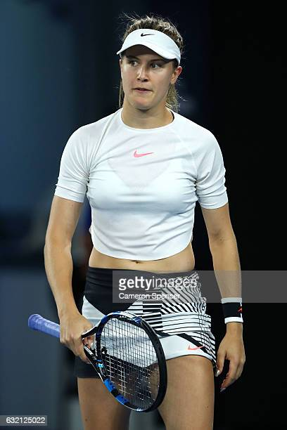 Eugenie Bouchard of Canada reacts in her third round match against Coco Vandeweghe of the United States on day five of the 2017 Australian Open at...