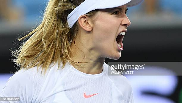 Eugenie Bouchard of Canada reacts to a point against Louisa Chirico of Italy during their women's singles first round match on day one of the...