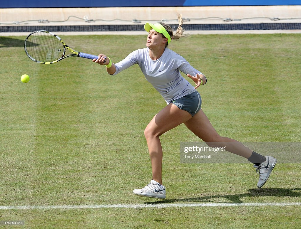 <a gi-track='captionPersonalityLinkClicked' href=/galleries/search?phrase=Eugenie+Bouchard&family=editorial&specificpeople=5678779 ng-click='$event.stopPropagation()'>Eugenie Bouchard</a> of Canada returns a shot to Bojana Jovanovski of Serbia during the first round of The AEGON Classic Tennis Tornament at Edgbaston Priory Club on June 10, 2013 in Birmingham, England.