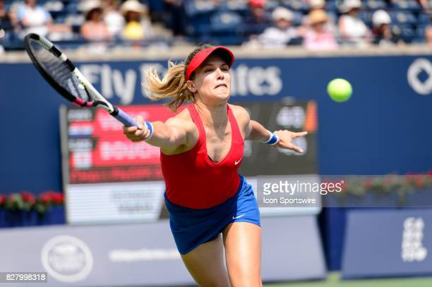 Eugenie Bouchard of Canada returns the ball during her first round match of the 2017 Rogers Cup tennis tournament on August 8 at Aviva Centre in...