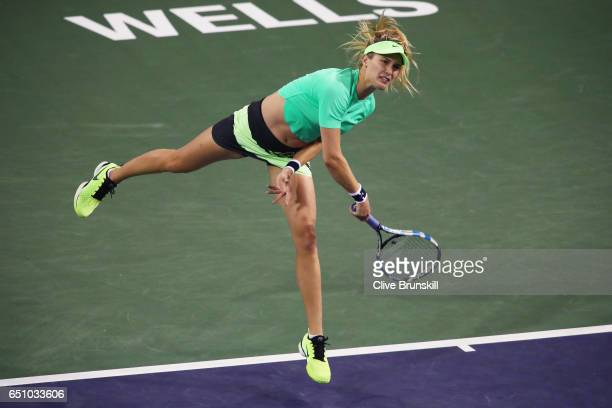 Eugenie Bouchard of Canada serves against Annika Beck of Germany in their first round match during day four of the BNP Paribas Open at Indian Wells...