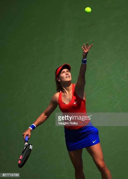 Eugenie Bouchard of Canada serves against Donna Vekic of Croatia during Day 4 of the Rogers Cup at Aviva Centre on August 8 2017 in Toronto Canada