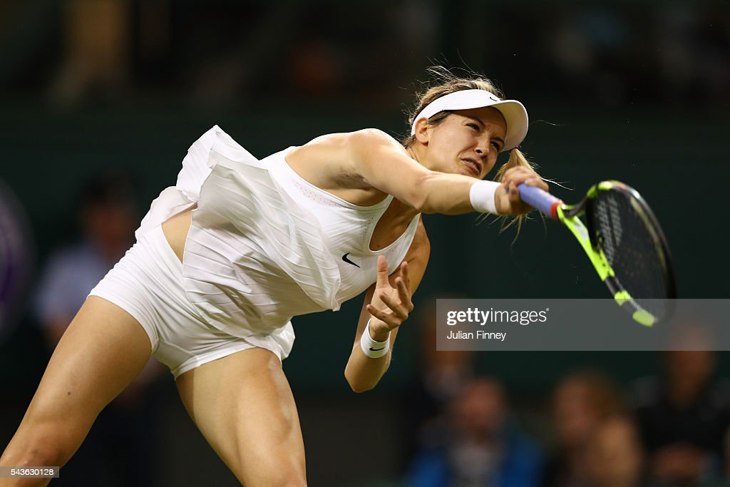 <a gi-track='captionPersonalityLinkClicked' href=/galleries/search?phrase=Eugenie+Bouchard&family=editorial&specificpeople=5678779 ng-click='$event.stopPropagation()'>Eugenie Bouchard</a> of Canada serves during the Ladies Singles first round match against Magdalena Rybarikova of Slovakia on day three of the Wimbledon Lawn Tennis Championships at the All England Lawn Tennis and Croquet Club on June 29, 2016 in London, England.