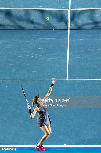 Eugenie Bouchard of Canada serves during the Prudential Hong Kong Tennis Open 2017 match between Caroline Wozniacki of Denmark and Eugenie Bouchard...