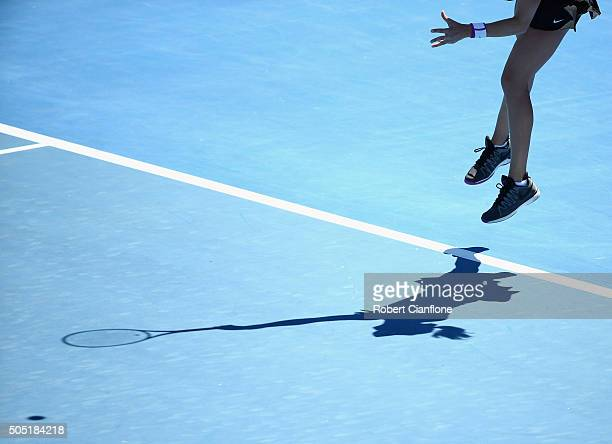 Eugenie Bouchard of Canada serves during the singles finals match againsts Alizé Cornet of France during the 2016 Hobart International at the Domain...