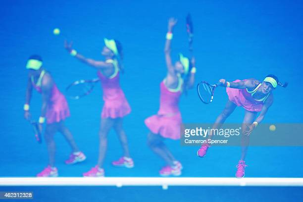 Eugenie Bouchard of Canada serves in her quarterfinal match against Maria Sharapova of Russia during day nine of the 2015 Australian Open at...