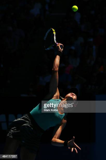 Eugenie Bouchard of Canada serves in her quarterfinal match against Ana Ivanovic of Serbia during day nine of the 2014 Australian Open at Melbourne...
