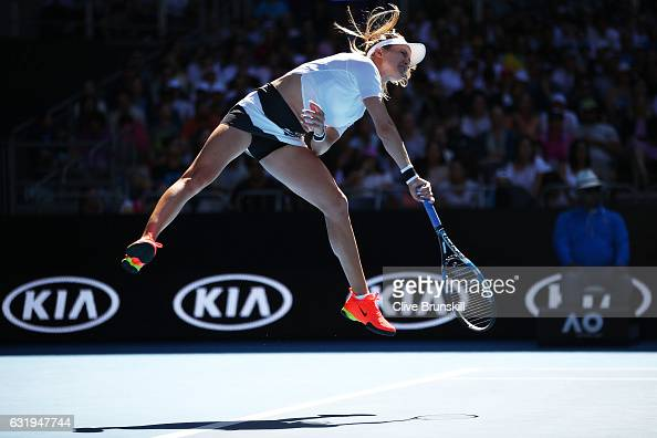 Eugenie Bouchard of Canada serves in her second round match against Shuai Peng of China on day three of the 2017 Australian Open at Melbourne Park on...